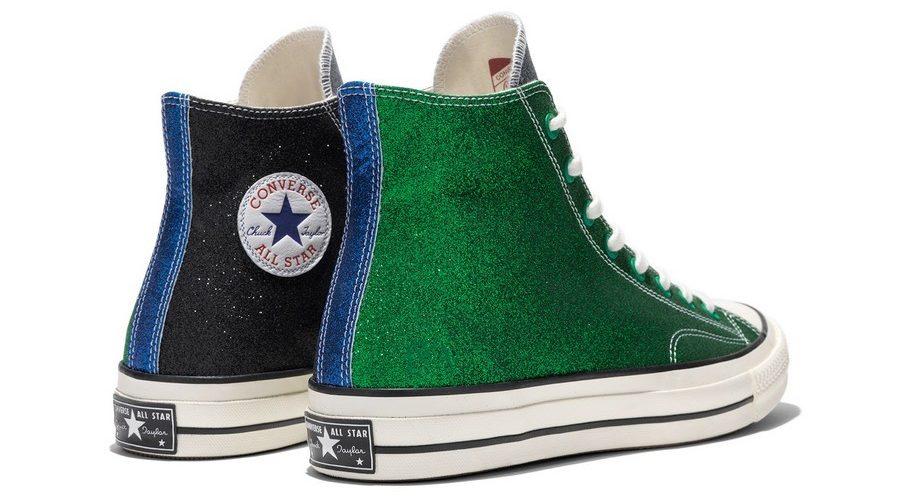 converse paillette vert noir bleu